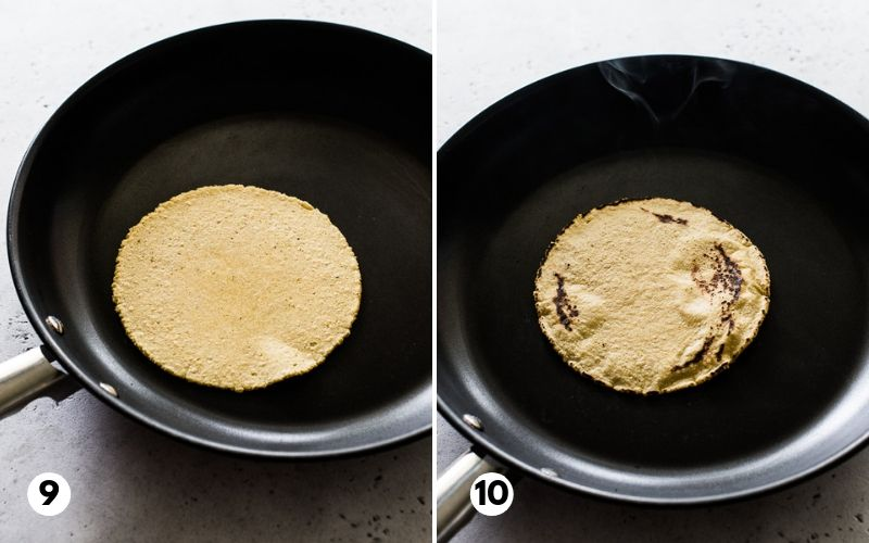 Corn tortillas being cooked in a nonstick skillet.