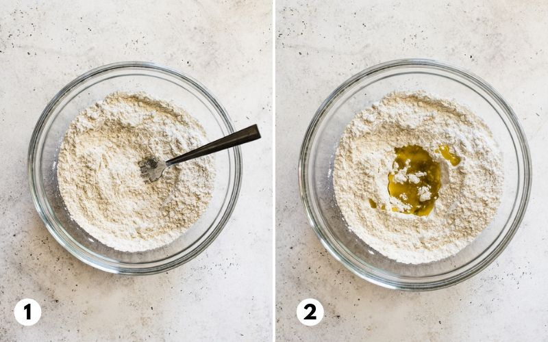 Step 1 and 2 of how to make flour tortillas.
