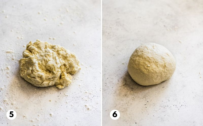 Step 5 and 6 showing flour tortilla dough on a floured work surface.