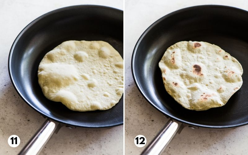 Steps 11 and 12 showing how to cook flour tortillas in a nonstick skillet.