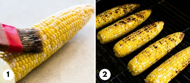 Process of how to grill corn on the cob for Mexican street corn.