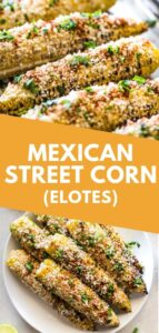 Mexican Street Corn on the cob covered in creamy mayo and topped with cilantro, lime juice, Cotija cheese and chili powder is the perfect Mexican summer side dish! #streetcorn #mexican