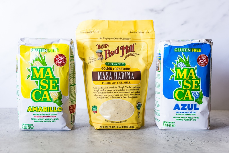 3 bags of masa harina - Maseca brand and Bob's Red Mill brand.