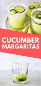 Cucumber Margaritas made with only 5 ingredients - cucumbers, lime juice, tequila, triple sec and ice! They're refreshing, light and easy to make. #cucumbers #margarita #cocktail #mexicanrecipes