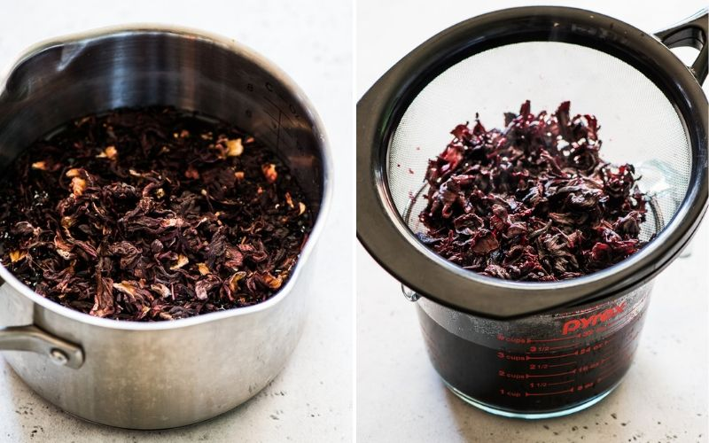 Dried hibiscus flowers in a pot and then being strained to make jamaica drink.