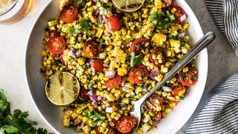 Grilled Corn Salsa in a white bowl.