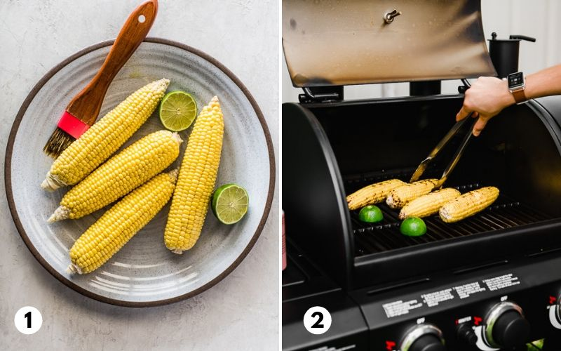 Corn on the cob being grilled on a Char-Griller Texas Trio grill.