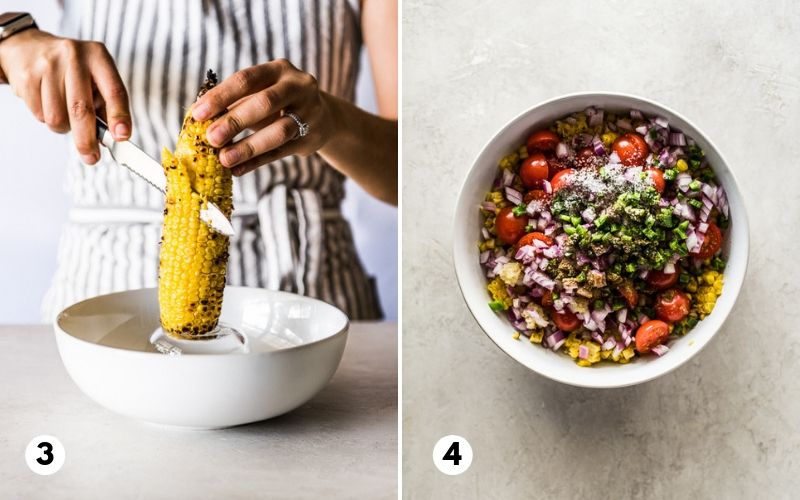 Cutting grilled corn on the cob into a bowl to make grilled corn salsa.