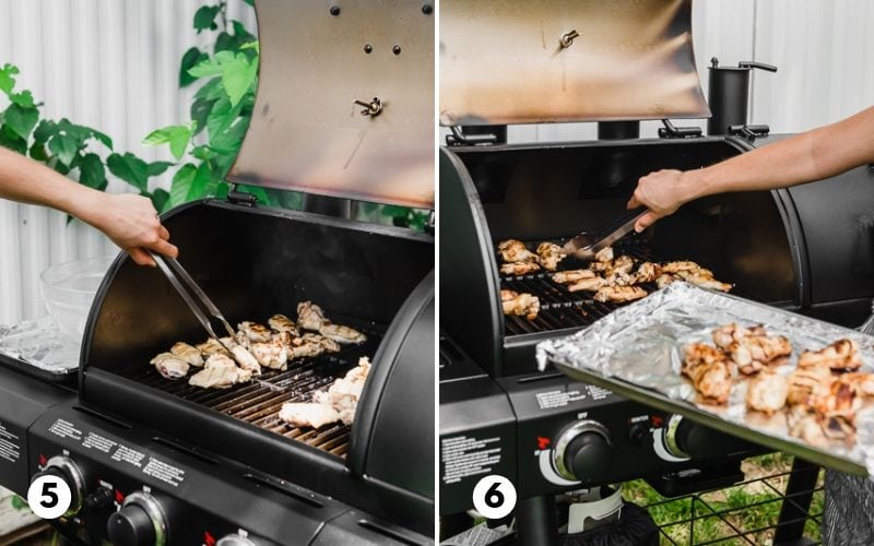 Chicken wings on a Char-Griller grill being flipped over and grilled.