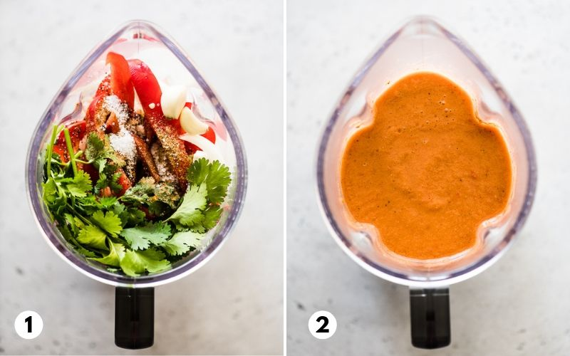 Step by step process of how to make gazpacho in a blender.