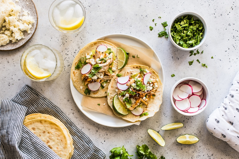 Tacos made with paleo tortillas and chicken.