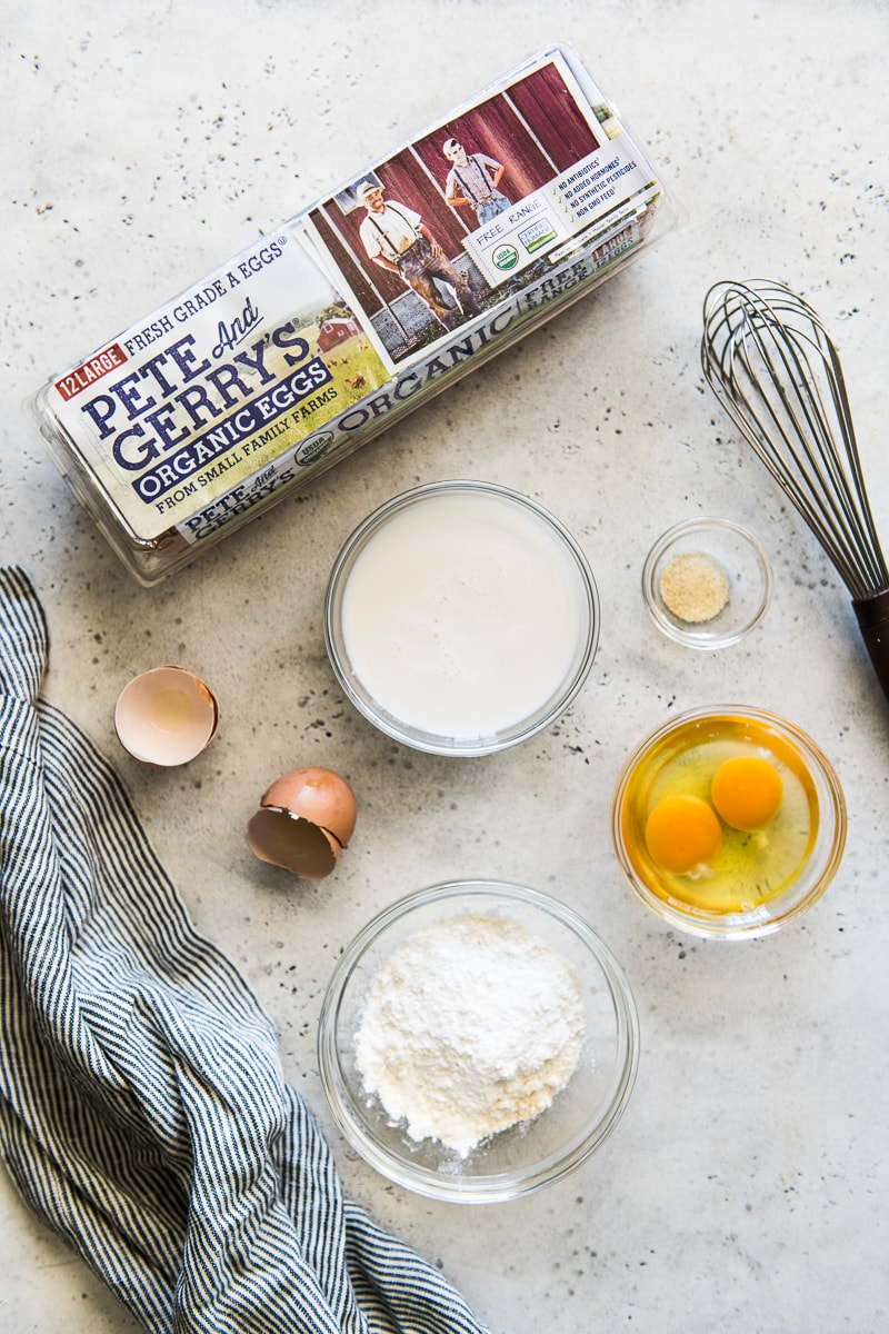 Ingredients used to make paleo tortillas, including Pete and Gerry's Organic Eggs.