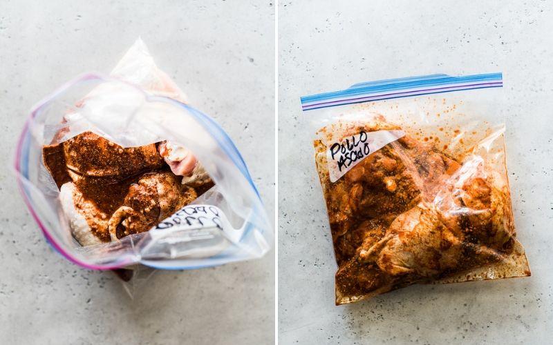 A gallon size Ziploc storage bag with marinated pollo asado
