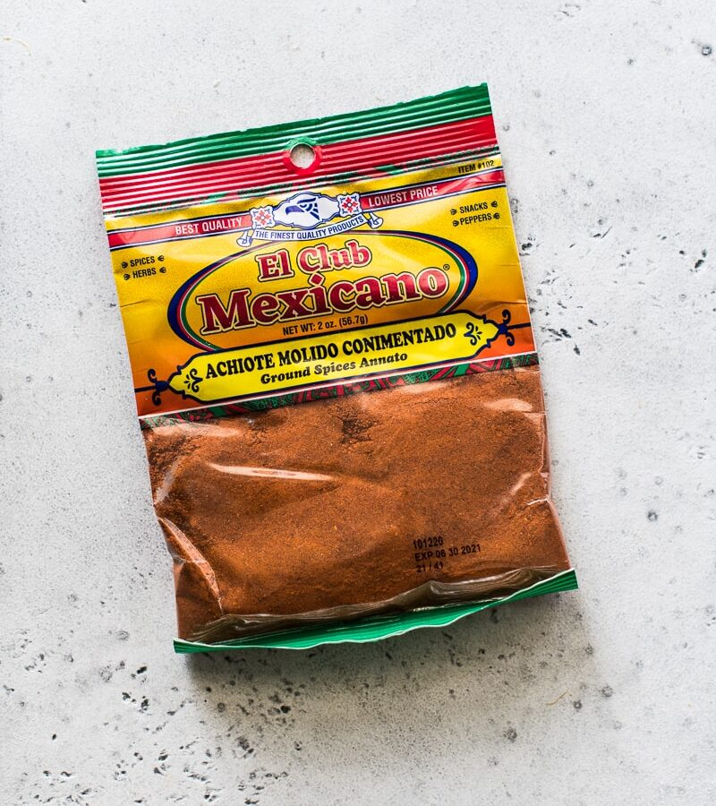 A bag of achiote powder (also known as ground annatto seeds)