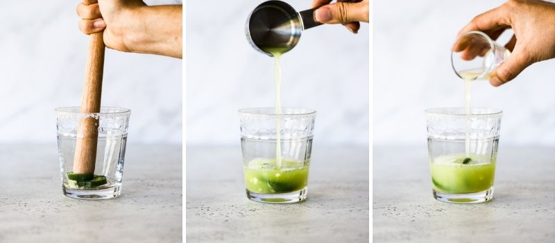 The step by step process of how to make cucumber margaritas.