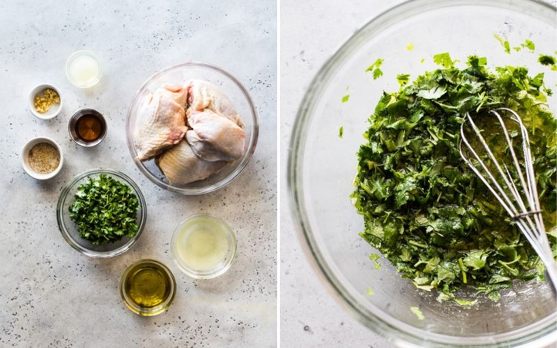 Cilantro Lime Chicken marinade ingredients on a light blue table