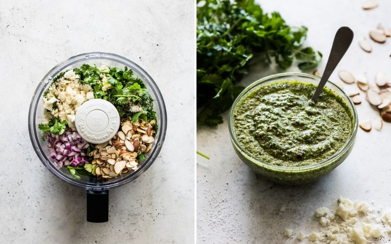 Cilantro pesto for topping on grilled skirt steak