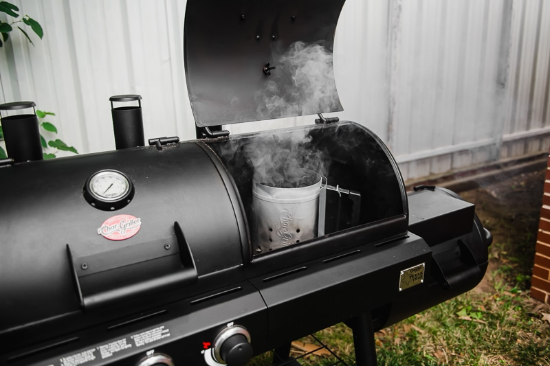 Char Griller Texas Trio Grill with a chimney starter used to start a charcoal grill.