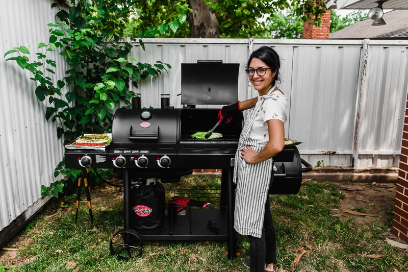 Isabel Orozco-Moore of Isabel Eats grilling lettuce on a Char-Griller Texas Trio Grill.