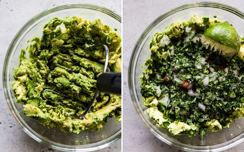 How to make guacamole process - mashed avocados and then mixing in cilantro and lime juice.