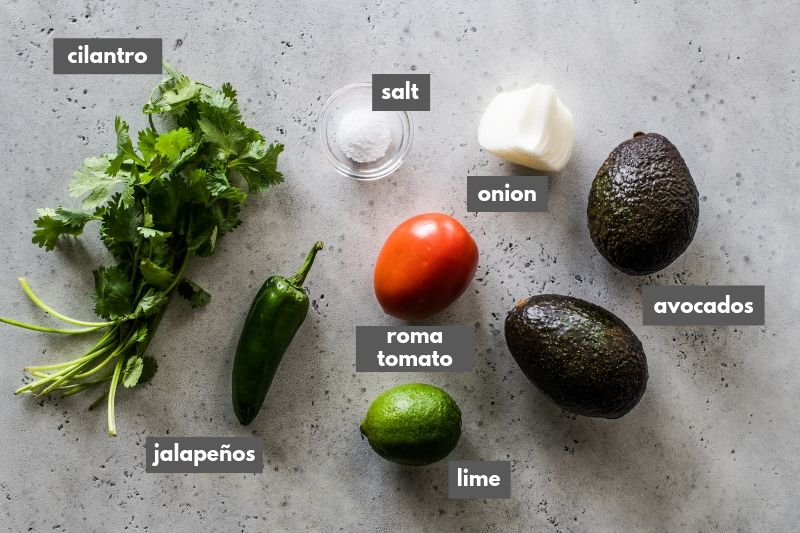 Guacamole ingredients on a table.