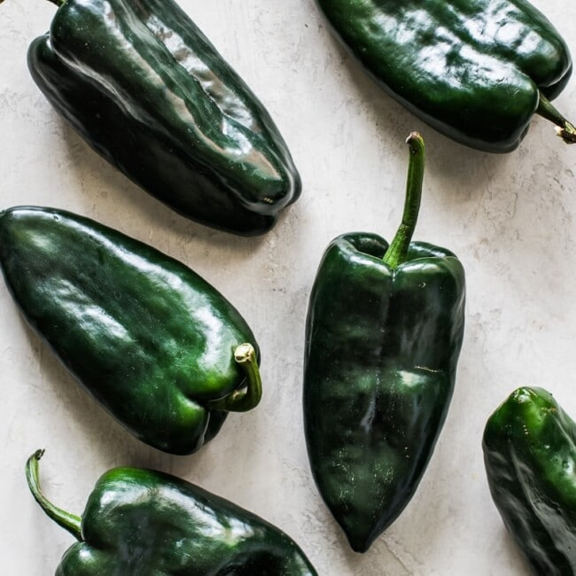 Poblano peppers on a table