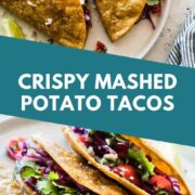 These potato tacos are filled with Mexican-spiced mashed potatoes and lightly fried to create the perfect crispy crunchy outside and creamy interior. Stuff them with shredded cabbage and pico de gallo for a fresh and bright bite! #potatotacos #tacos #vegetarian #mexicanrecipes