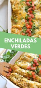 These Weeknight Enchiladas Verdes are made with chicken and covered in an easy salsa verde. Baked to perfection, they make a great dinner and tasty leftovers that everyone will be excited to eat! #enchiladasverdes #chickenenchiladas #easyrecipe #mexicanfood