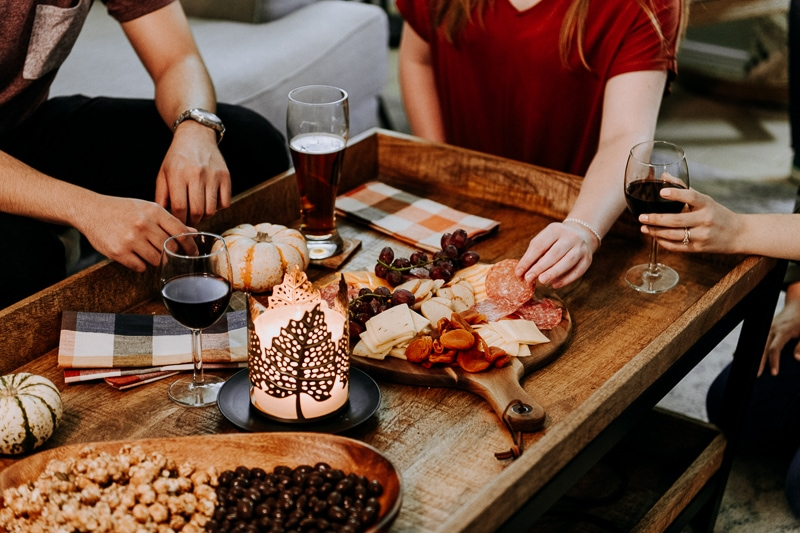 A meat and cheese board appetizer for Friendsgiving.