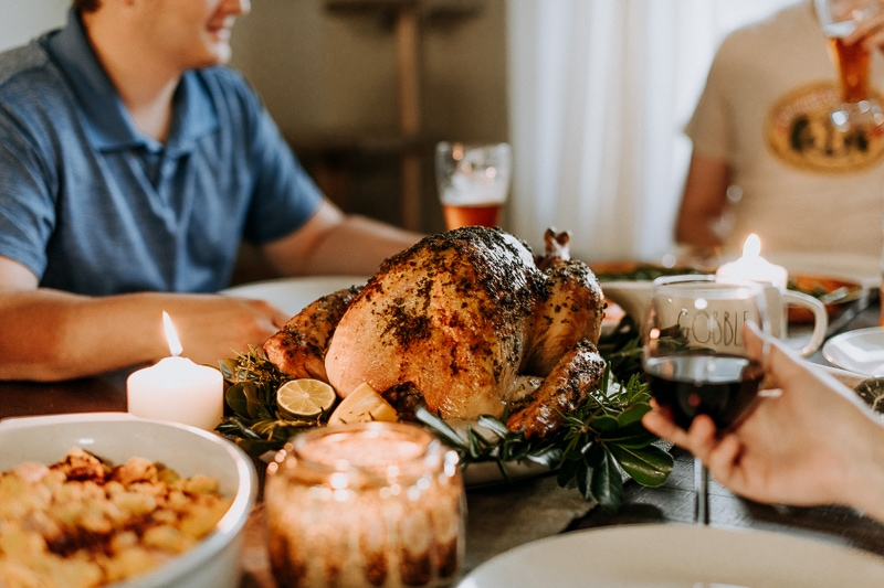 A Honeysuckle White turkey as the centerpiece of a Friendsgiving celebration.
