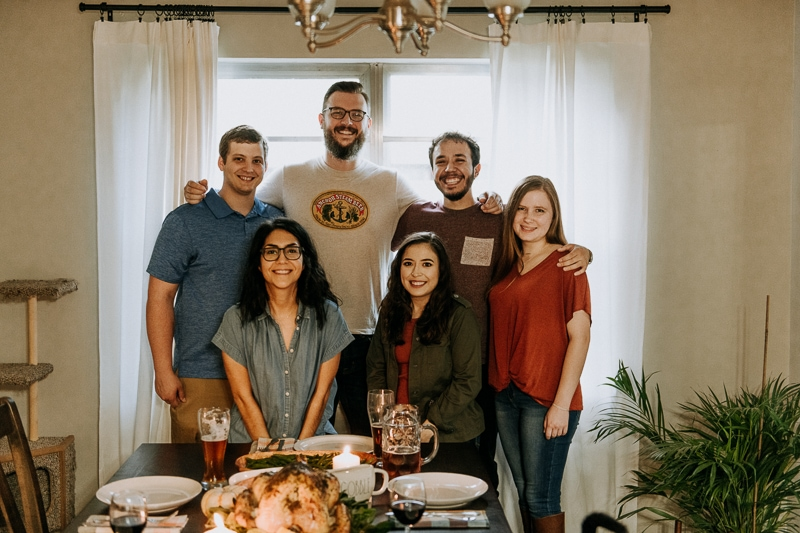 A group picture of friends for Friendsgiving.