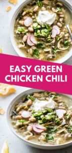 This Easy Green Chicken Chili is a healthy and comforting one pot soup made with salsa verde and white beans. A perfect weeknight meal for the whole family!