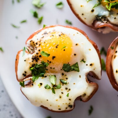 Egg muffin cup on a plate