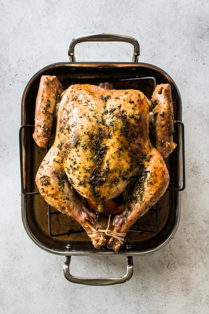 A roast turkey with crispy golden skin ready to be eaten.