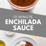 Ready in only 10 minutes, this easy enchilada sauce is super simple to make and requires no dried chiles! Made with chile powder, tomato paste and more. #enchiladas #mexicanfoodrecipes #mexicanfood #mexicanrecipes
