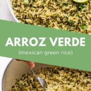Spice up your next Mexican meal with a side of Arroz Verde! This delicious green rice is easy to make and pairs well with many dishes including enchiladas, burrito bowls, tacos and meat/seafood! #arrozverde #mexicanfoodrecipes #greenrice #mexicanrice