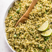 Arroz Verde (Green Rice) in a white bowl.