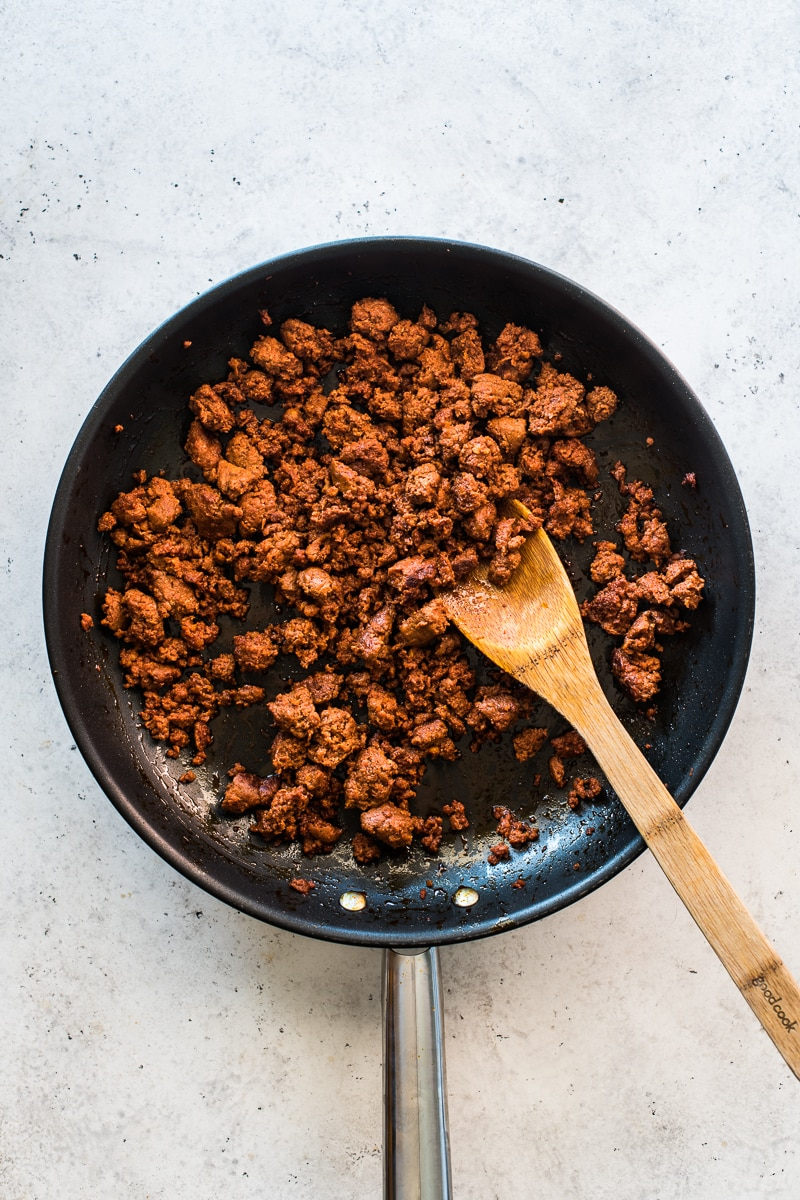 Cooked Mexican chorizo in a skillet.