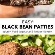 These Black Bean Patties are crispy on the outside, creamy on the inside and served with a cilantro yogurt sauce. Makes tasty black bean burgers! #vegetarian #blackbeanburger #veggieburger #blackbeans