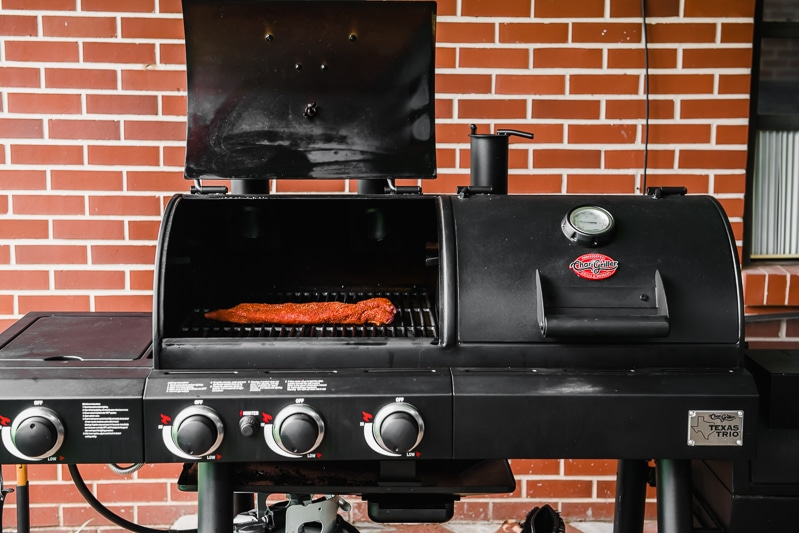 A pork tenderloin on a Char-Griller grill.