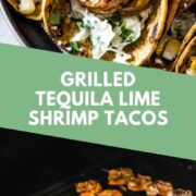 These grilled shrimp tacos are seasoned with lime juice, garlic and cumin and served in corn tortillas with a creamy cabbage slaw, corn and cotija cheese. #shrimptacos #tacos #mexicanrecipes #grilledshrimp