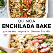 This Quinoa Enchilada Bake is a healthy Tex-Mex casserole that's easy to make and filled with lots of veggies! Made with quinoa, black beans, broccoli, enchilada sauce and more! (vegetarian, gluten free) #casserolerecipes #mexicanrecipes #enchiladas