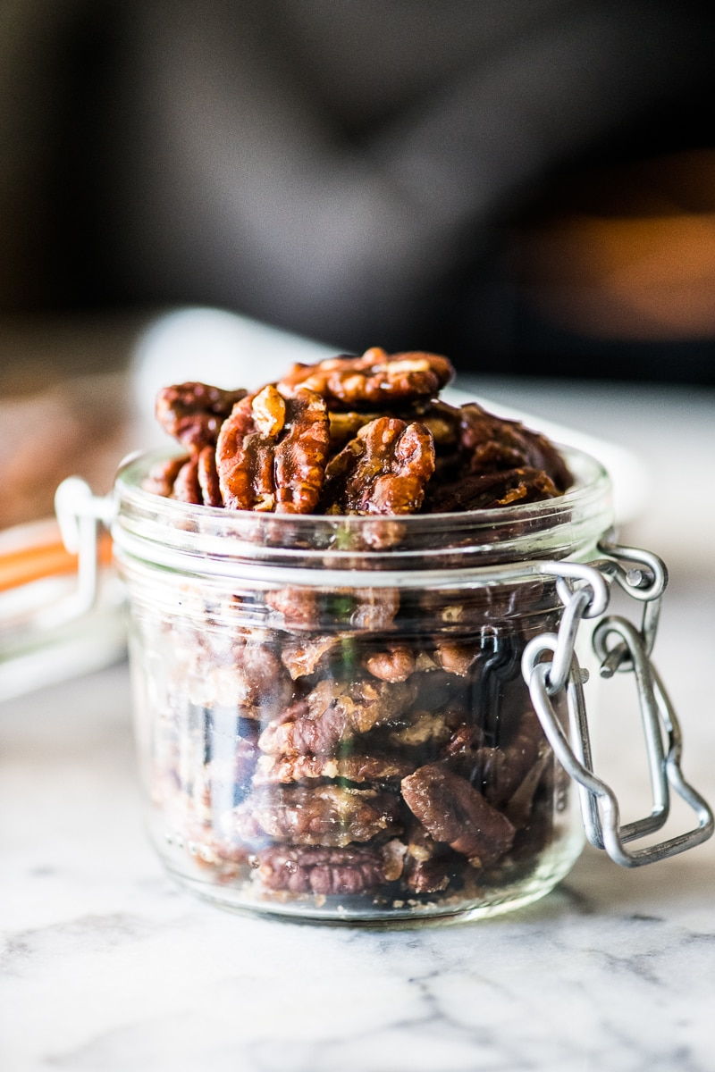 Candied pecans in a jar ready to be served