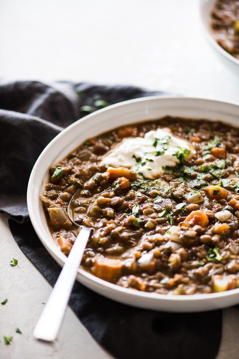 Crockpot lentil soup in a bowl