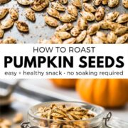 Don't throw away your pumpkins just yet! These step-by-step instructions will show you how to roast pumpkin seeds the easy way - no soaking required. Seasoning options include spicy, plain, sweet cinnamon and brown sugar, bbq and Italian. Learn how to make this healthy snack today! #pumpkinrecipes #snacks #healthyrecipes