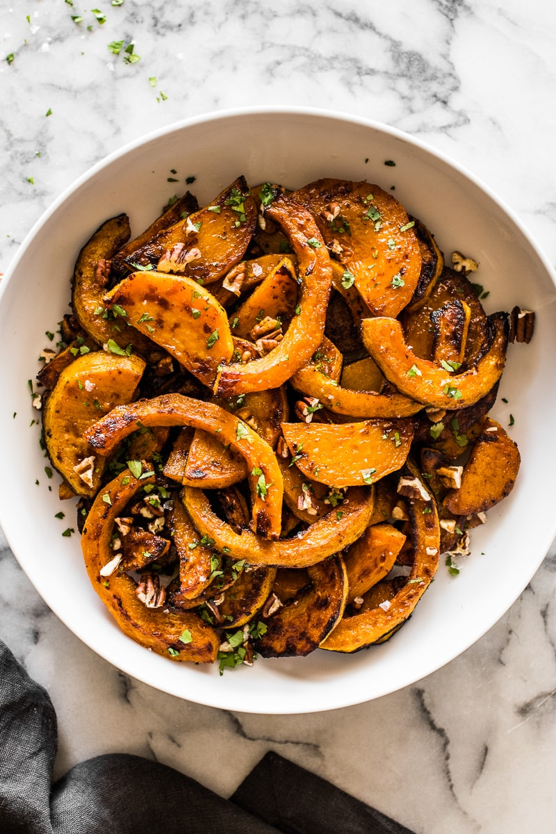 A bowl filled with roasted butternut squash.
