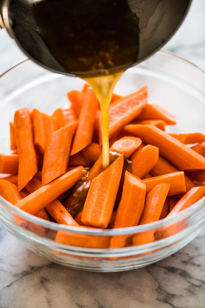 Peeled and sliced carrots in a bowl