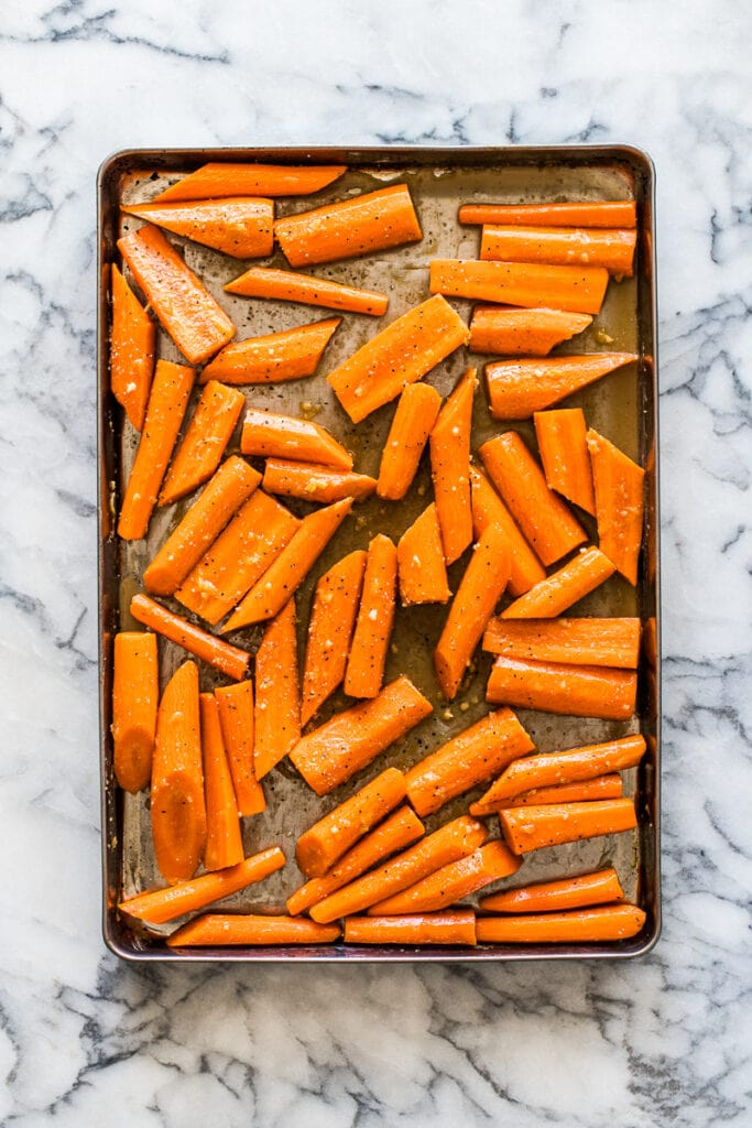 Carrots on a sheet pan