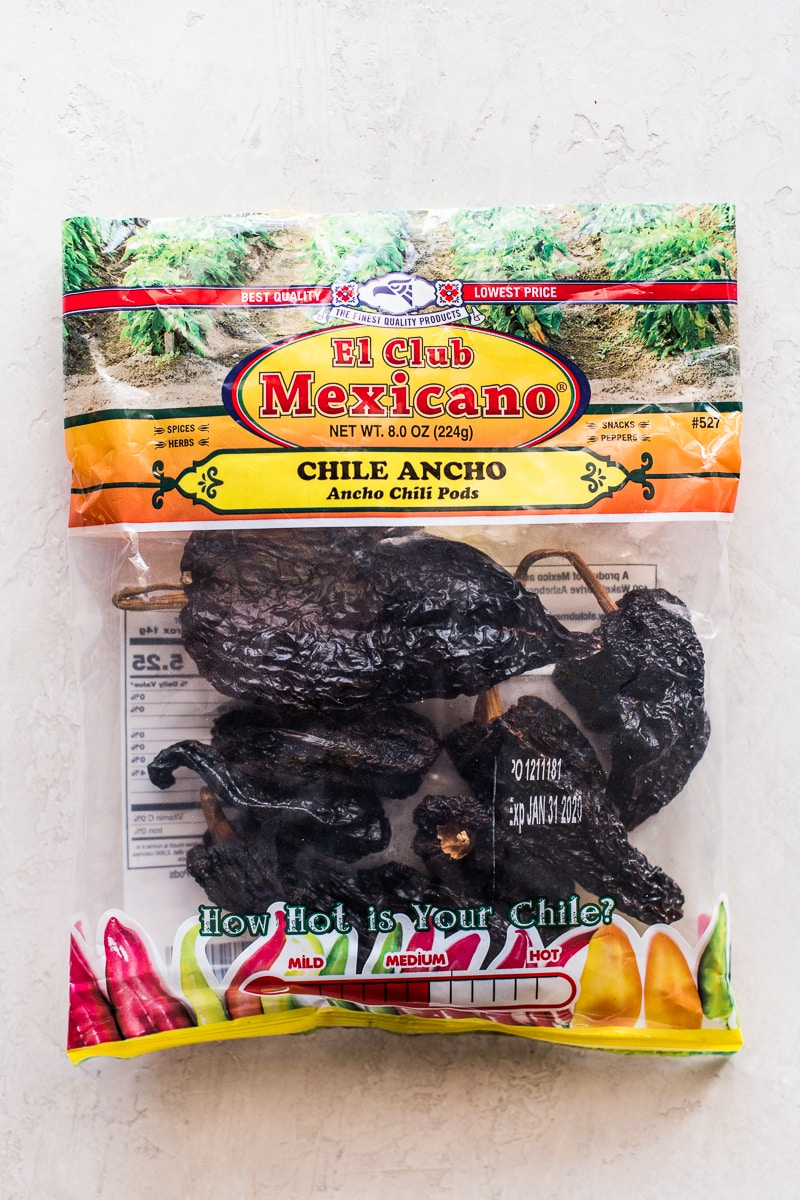 A bag full of dried ancho chile peppers