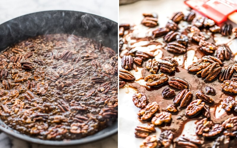 Cooking candied pecans on the stovetop